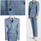 Blue Double Breasted Formal Suit Men s Slim Fit Prom Groom Wedding Suits Tuxedos