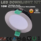 6X 10W LED CHROME DOWNLIGHTS KIT DIMMABLE BRUSHED  WARM/COOL CUTOUT 70MM  IP44