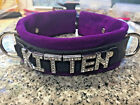 Kitten - leather collar Costume role play - customize it!! LOOK! Crystal letters