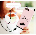 Cat Finger Ring Case For iPhone 7/ 7 Plus Shockproof Bowknot Cover With Lanyard