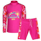 New Girls 2 Piece Swim Swimsuit Kids Long Sleeve Bathers 3-12Y Costumes Swimwear