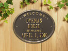 "Welcome Oval ""House"" Established Personalized Plaque"