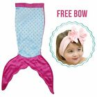 PoshPeanut Mermaid Blanket Softest Minky Blankie for Infants Babies Ages 0-2 <br/> Baby Blanket with FREE Bow Headwrap, Super Soft &amp; Cozy