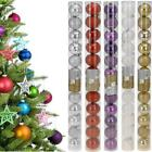12x GLITTER PLAIN SMALL BAUBLES CHRISTMAS TREE HANGING DECORATION BALLS ORNAMENT