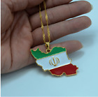 Republic Of Iran Islamic Flag Map Country 18K Gold Plated Chain Pendant Necklace