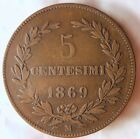 1869 SAN MARINO 5 CENTESIMI - VERY LOW MINTAGE Uncommon Type Coin - Lot #F17