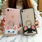 Lovely Cute Cat Metal Ring Kickstand Back Case Cover For Apple iPhone 6S 7 Plus