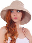 Women Ladies Wide Large Brim Plain Beach Sun Hat Bow Cotton Bucket Hat