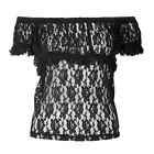 Brand New Womens Alternative Black Burleska Gypsy Lacy Frill Gothic Pin Up Top