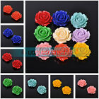 Large Size 35mm Synthetic Coral Carved Rose Flowers Pendant Beads 9 Colors