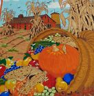 THANKSGIVING HARVEST Finished Fabric Art Panel HUGE 30 by 48 inches VINTAGE 70's