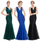 Fashion Sleeveless V-Neck Mermaid Lace Long Ball Gown Evening Prom Party Dress