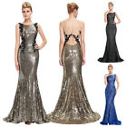 Sleeveless Shining Sequins Ball Gown Evening Prom Party Cocktail Dress Size 2~16
