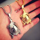 bling gold plated swamp lake turtle pendant charm rope chain hip hop necklace