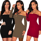 Sexy Lady Strapless Bodycon Long Sleeve Fashion Club Slim Fit Tight Party Dress