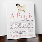 Personalised pug print gift pug owner poem pet keepsake dog breed quote canvas