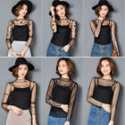 New Fashion Women Mesh Sheer See-through Long Sleeve Crop Top T Shirt Blouse