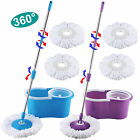 Microfiber Spinning Magic Spin Easy Floor Mop W/Bucket 2 Heads 360° Rotating
