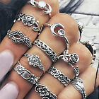 11Pcs Set Silver Gold Boho Carved Arrow Moon Midi Finger Knuckle Rings fo