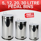 Kitchen Waste Rubbish Dustbin Bathroom Pedal Bin Stainless Steel 3 5 12 20 Litre