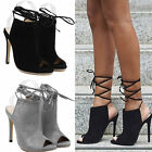 New Ladies Open Toe Stiletto Strappy Shoes Women High Heel Lace Up Party Sandals
