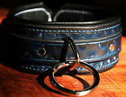 Custom locking slave restraint leather choker bondage collar w/ leash