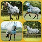 Combo Fly Turnout Rug with Belly Flap, Face Mask. Rainbow, star or Plain White
