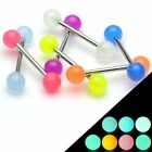 7 x Glow in The Dark Surgical Steel Tongue Nipple Bars - 14ga - 16mm