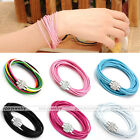 1x Fashion Womens Multilayer Wax Rope Resin Rhinestone 2 in 1 Bracelet Necklace