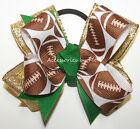 Football Cheer Bow Pigtail Ponytail Holder Green Gold Team Ribbon Color Choice