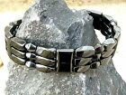 Men's Woman's 100% Black Magnetic Hematite Bracelet Anklet 3 row The MIGHTY LOOK