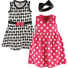 HUDSON BABY GIRLS 3 PIECE SLEEVELESS DRESS AND HEADBAND SET 12 to 24 MONTHS BOWS