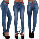NEW WOMENS LADIES BLUE DENIM EMBROIDERED ROSE SEXY SKINNY FIT JEANS SIZE 6-14