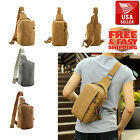 Men's Vintage Canvas Messenger Shoulder Bag Crossbody School Sling Bags Satchel
