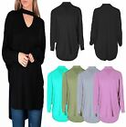 New Ladies Women's Choker V neck Oversized Baggy Batwing Top plus Size 8-26