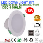 6X 16W DIMMABLE LED DOWNLIGHT KITS 120MM CUTOUT IP44 WHITE RECESSED FITTINGS