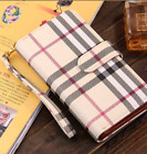 Plaid or Checkered Luxury Fashion Deluxe Leather Wallet Case +...