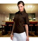 WOMENS SHORT SLEEVE BAR WORK SHIRT BROWN SZ 8 10 12 14 16  XS - XL CASUAL BLOUSE