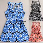 Fashion Ladies Women Sleeveless Sundress Floral Hollow Out Elastic Waist OO5501