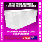 White Satin Table Skirting Skirt Cloths Wedding Events Tablecloths Many Sizes