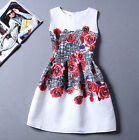Summer Women's Vintage Beautiful Rose Flower Printed Party Mini Dress Q822
