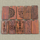 Real Wood Wooden Carved Patterned Protective Case  For iPhone 5S SE 6 6S 7 Plus