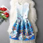 Summer Women's Crystal Blue Butterfly Sleeveless Cocktail Party A line Dress