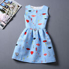 Summer Women Beautiful Red Lip Heart Printing Sleeveless Party A line Dress blue