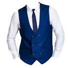 MENS MARC DARCY VINTAGE PRINT CHECK WAISTCOAT STYLE GEORGE - BLUE