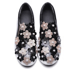 US3-11 Womens Floral Flowers Pearls Sneakers Sports Athletic Shoes Flats Slip On