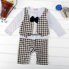 Baby Kids Children Boy's Wear Checked Long Sleeve Bow Tie Rompers OO5501