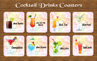 COCKTAILS DRINKS COASTER MARGARITA DAIQUIRI MANHATTEN MOJITO BAR GIFT BIRTHDAY