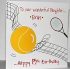 Lovely Personalised Handmade Tennis Theme  Birthday Card.  Son Daughter Sister