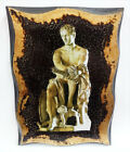 Ares God of War Handmade Wood Icon on plaque with physical aging Golden Leaf 24K